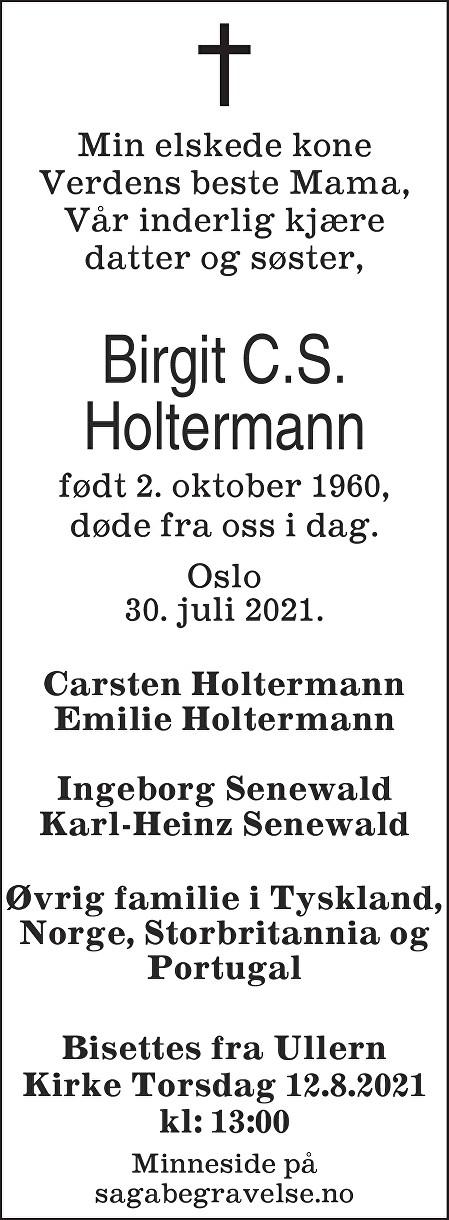 Birgit C.S. Holtermann Dødsannonse