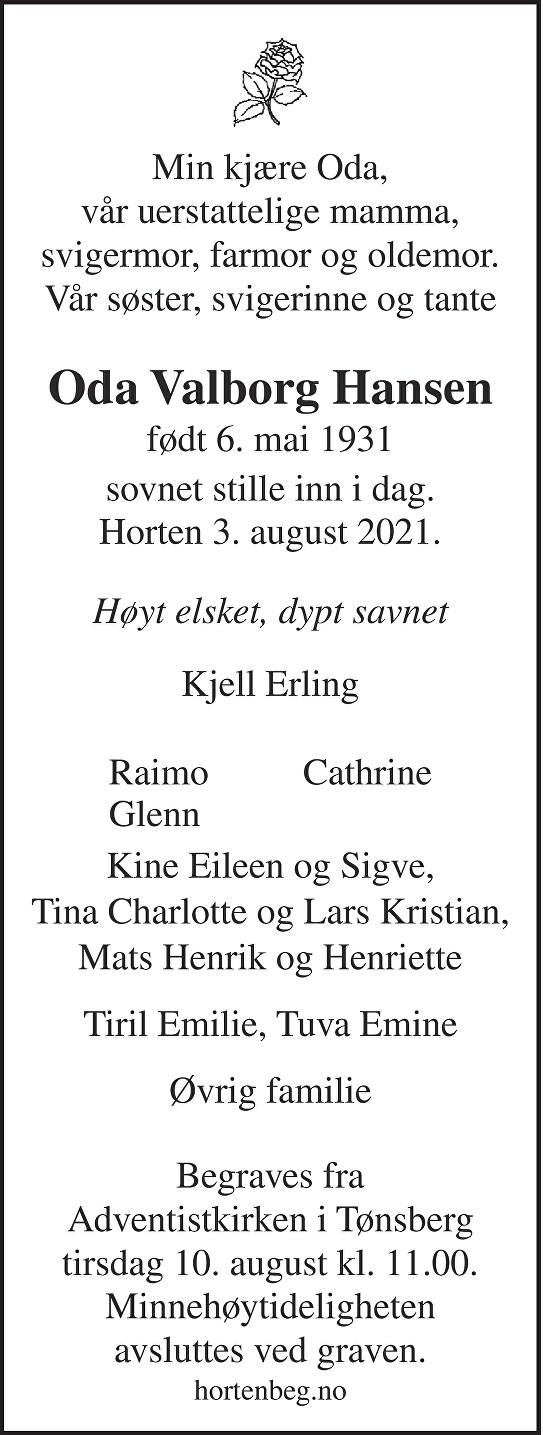 Oda Valborg Hansen Dødsannonse