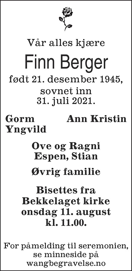 Finn Berger Dødsannonse