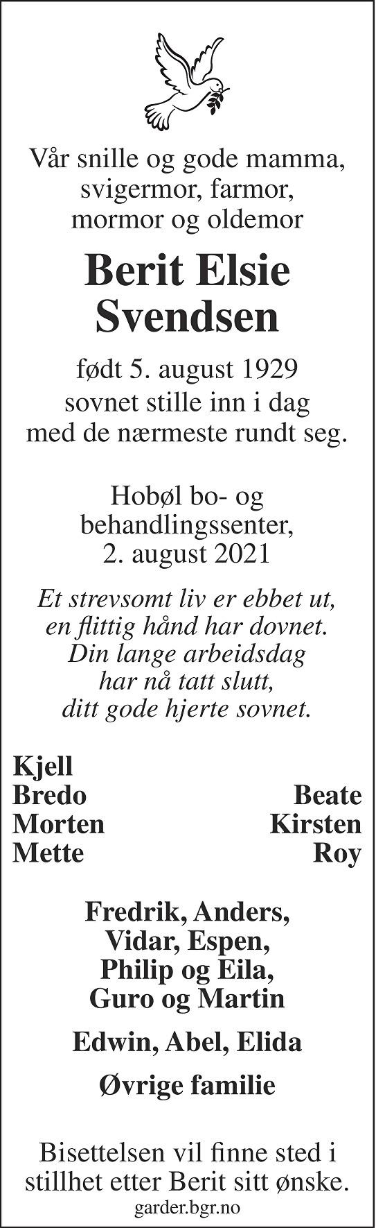 Berit Elsie Svendsen Dødsannonse