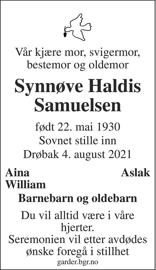 Synnøve Haldis Samuelsen Dødsannonse