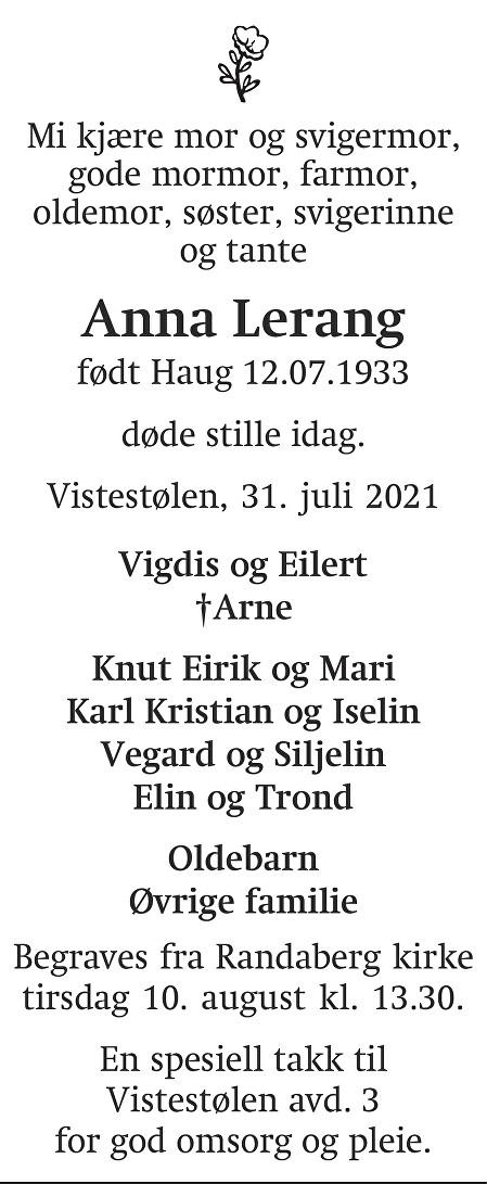 Anna Lerang Dødsannonse