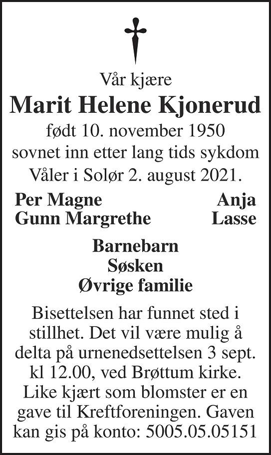 Marit Helene Kjonerud Dødsannonse