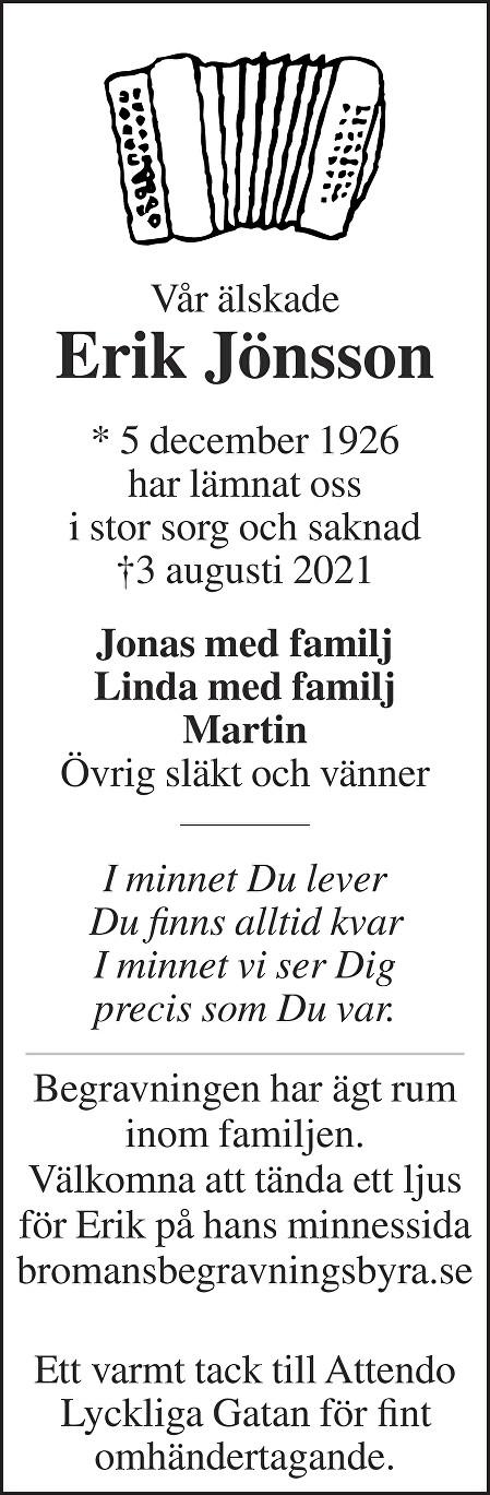 Erik Jönsson Death notice