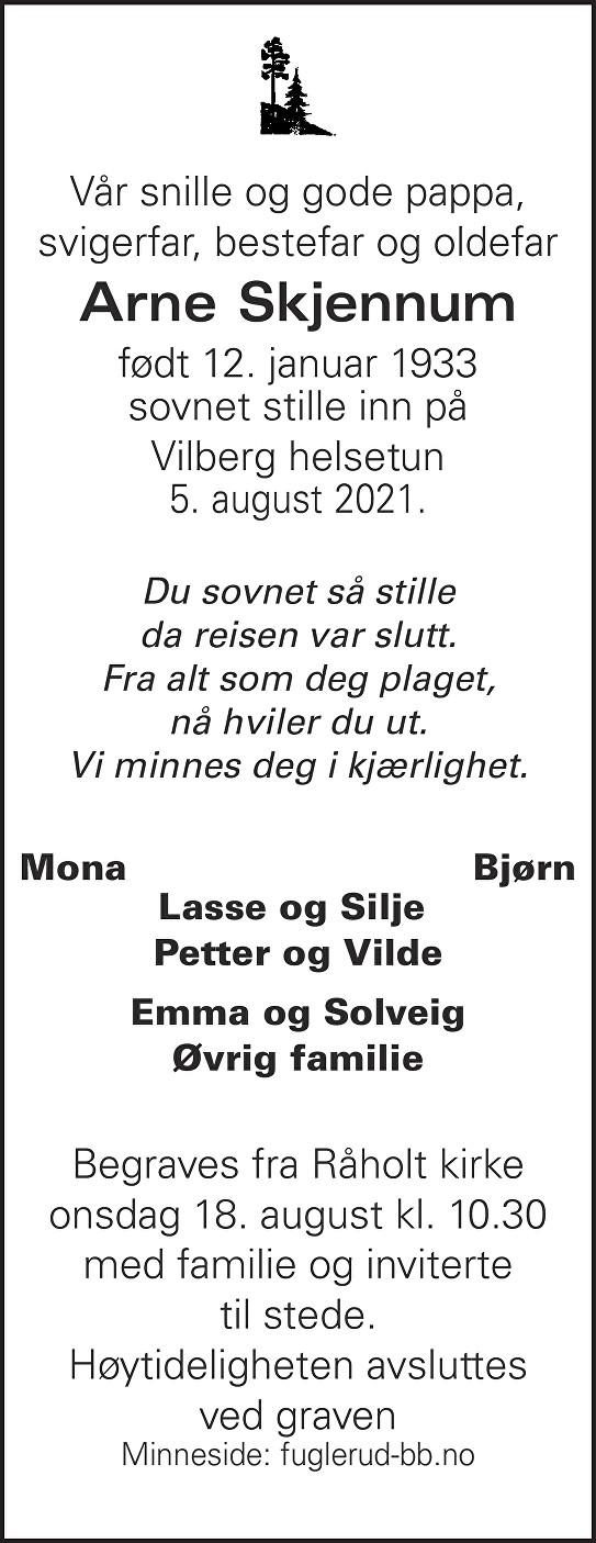 Arne Skjennum Dødsannonse
