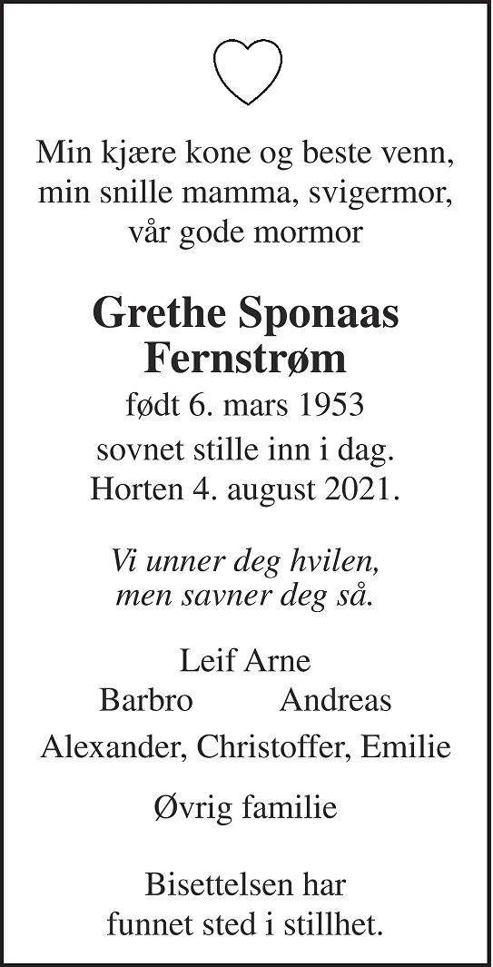 Grethe Sponaas Fernstrøm Dødsannonse