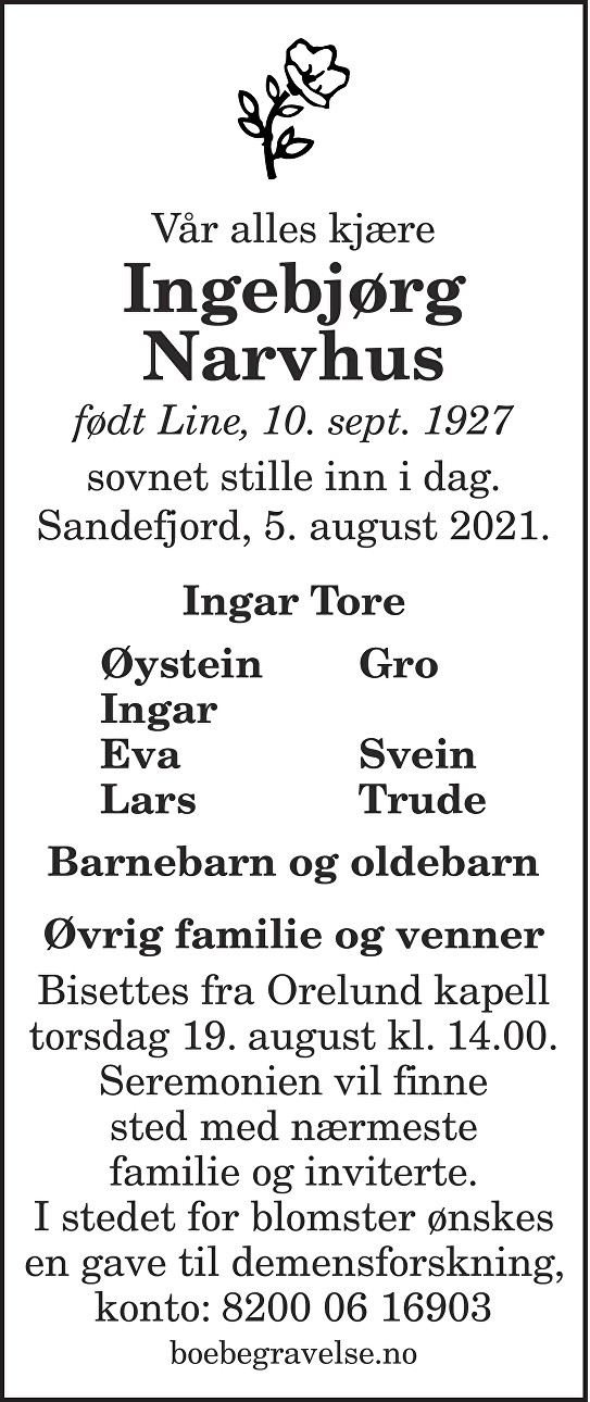 Ingebjørg Narvhus Dødsannonse