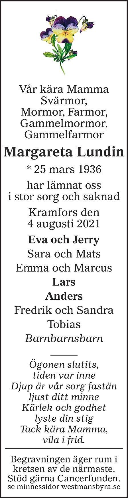 Margareta Lundin Death notice