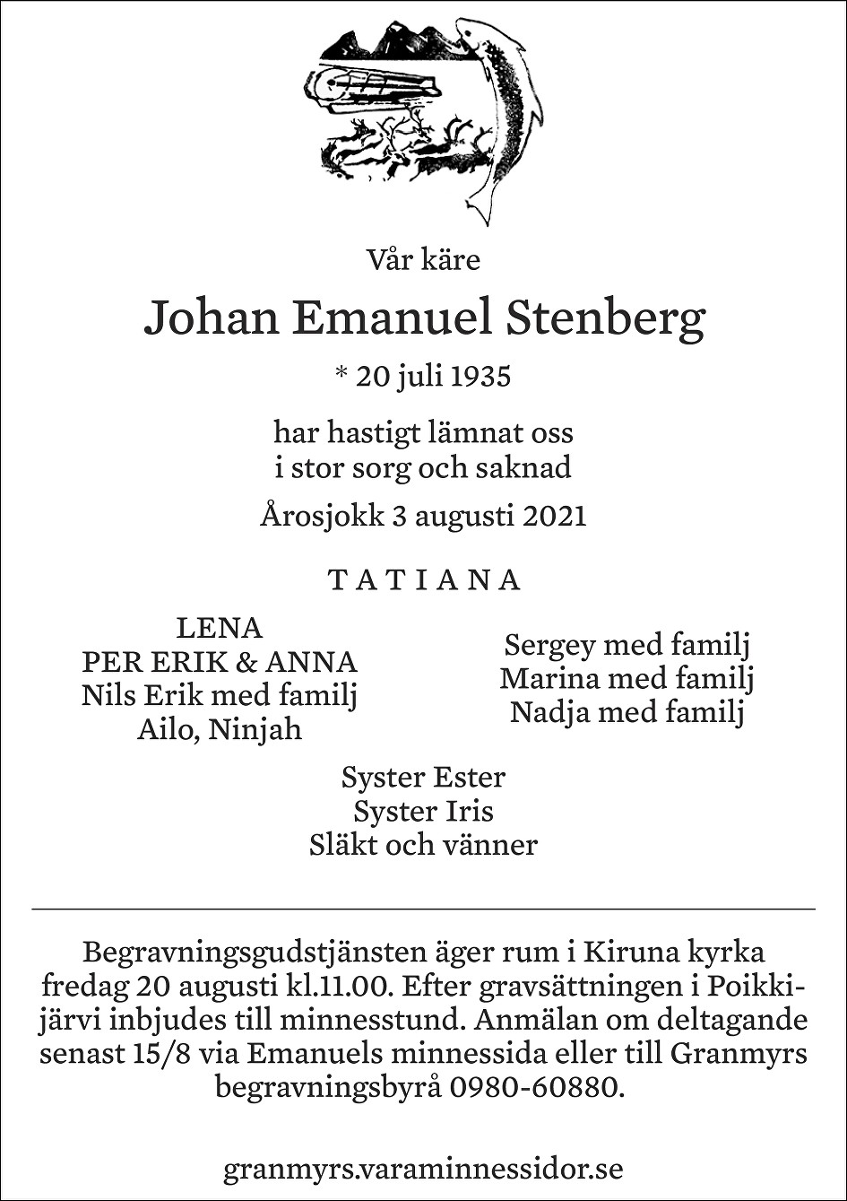Johan Emanuel Stenberg Death notice