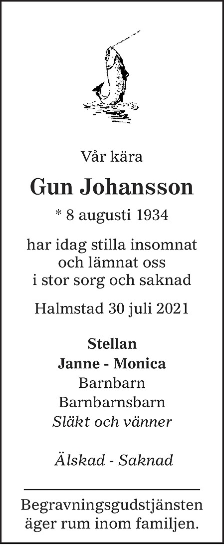 Gun Johansson Death notice
