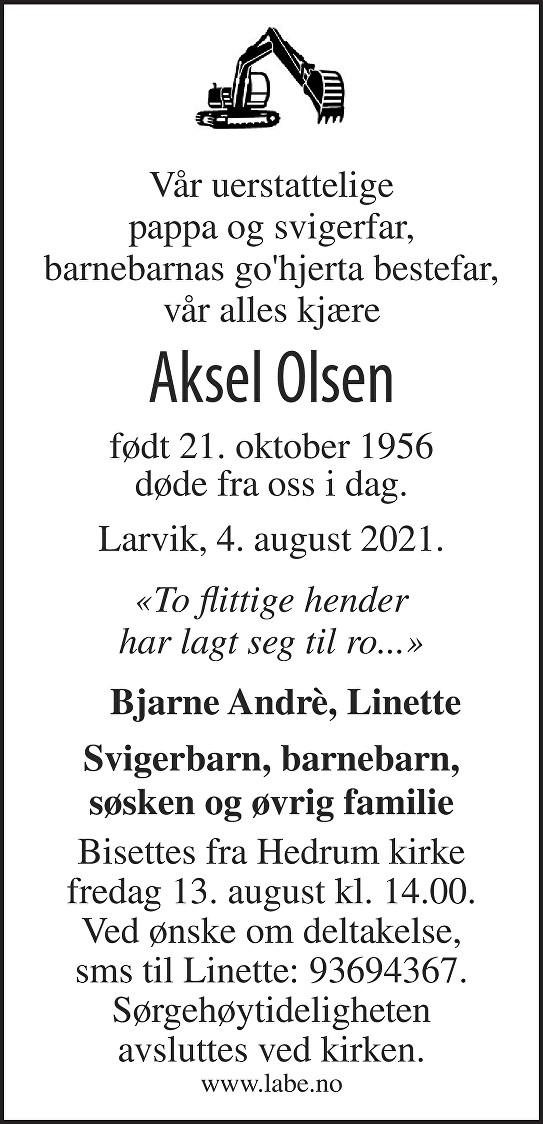 Aksel Olsen Dødsannonse