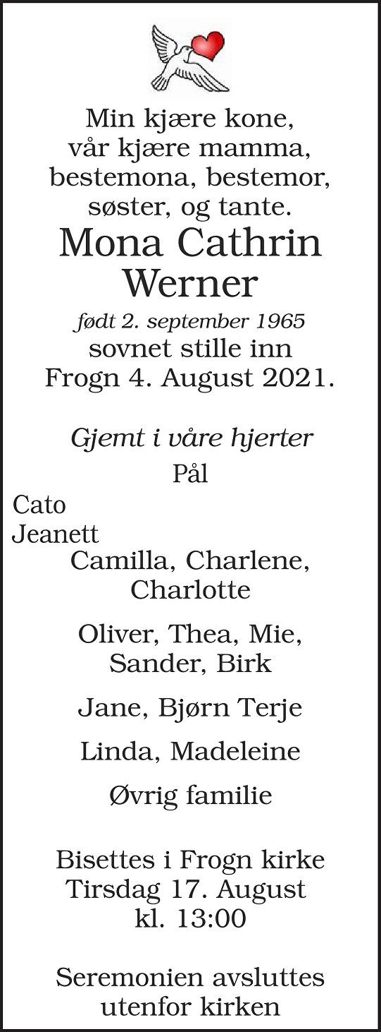 Mona Cathrin Werner Dødsannonse