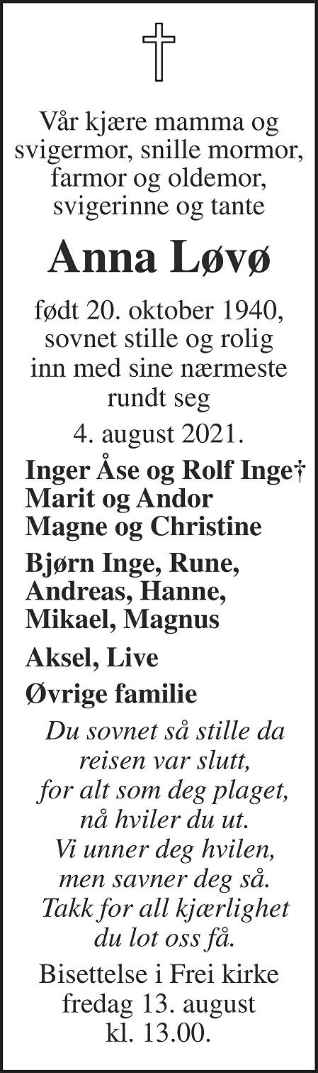 Anna Løvø Dødsannonse