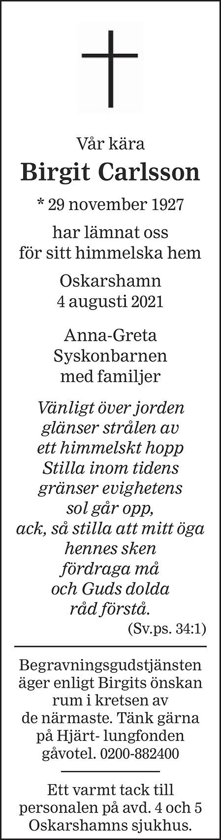 Birgit Carlsson Death notice