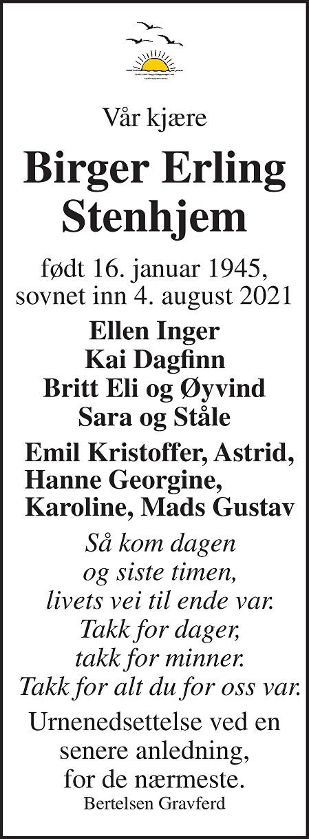 Birger Erling Stenhjem Dødsannonse