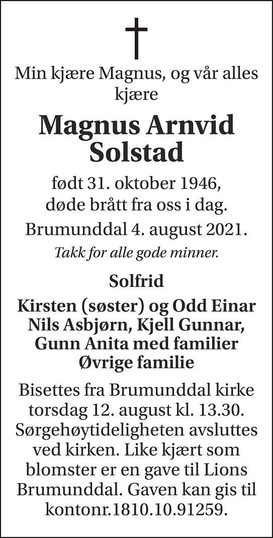 Magnus Arnvid Solstad Dødsannonse