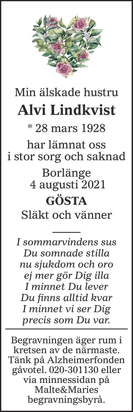 Alvi Lindkvist Death notice