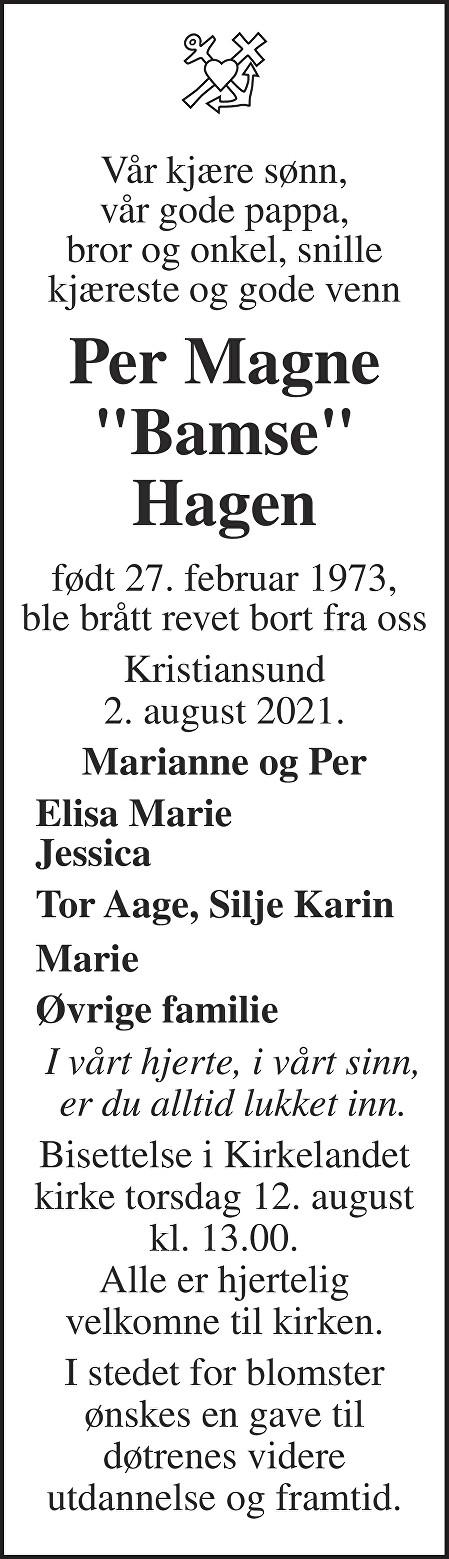 Per Magne Hagen Dødsannonse