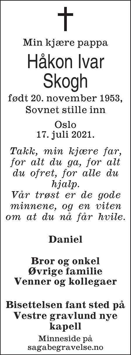 Håkon Ivar Skogh Dødsannonse