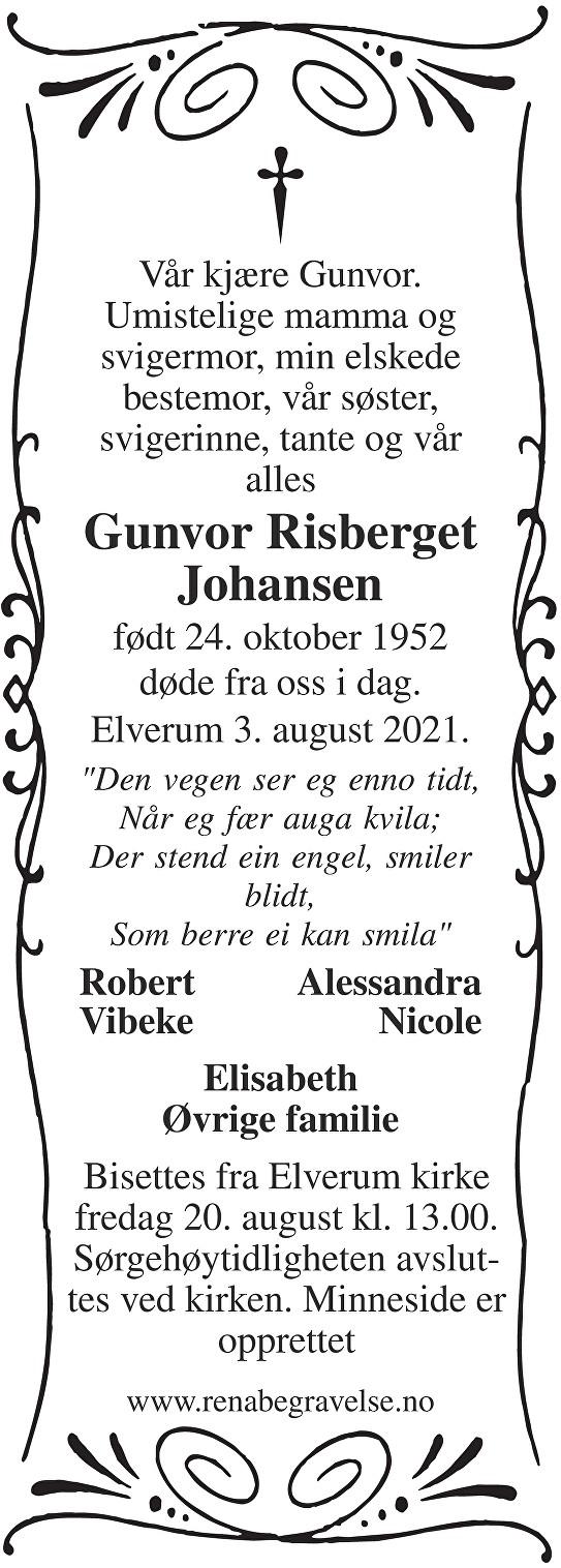 Gunvor Risberget Johansen Dødsannonse