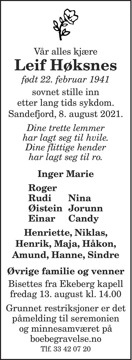 Leif Høksnes Dødsannonse
