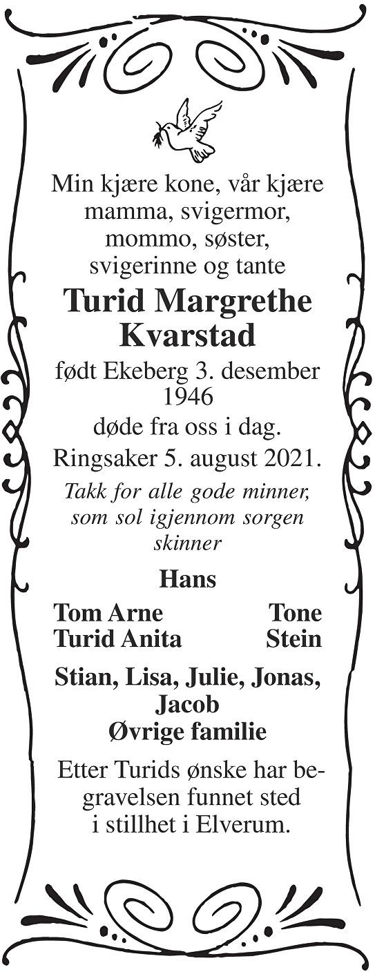 Turid Margrethe Kvarstad Dødsannonse