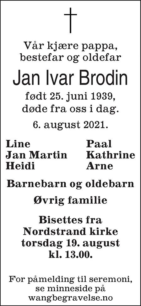 Jan Ivar Brodin Dødsannonse