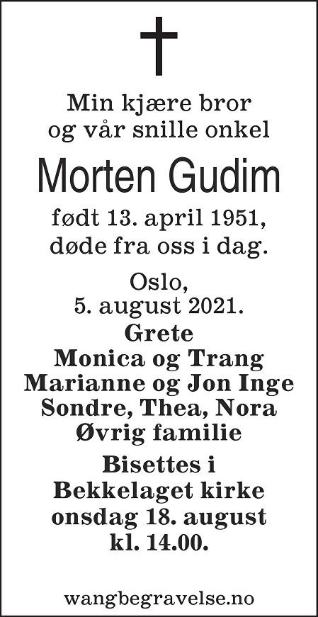 Morten Gudim Dødsannonse