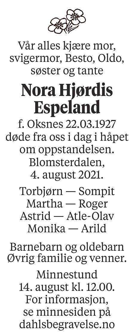 Nora Hjørdis Espeland Dødsannonse