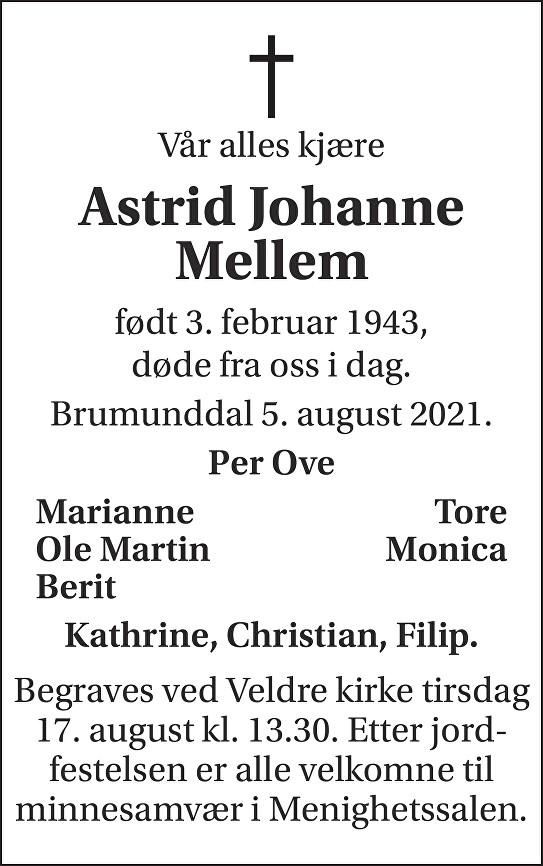 Astrid Johanne Mellem Dødsannonse