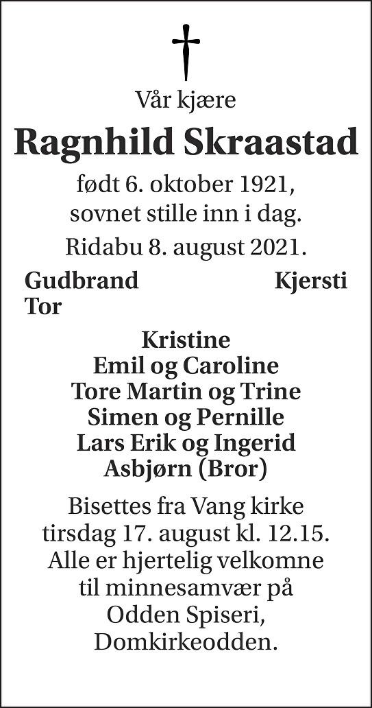 Ragnhild Skraastad Dødsannonse