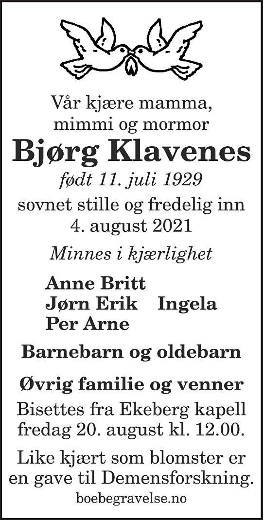 Bjørg Klavenes Dødsannonse
