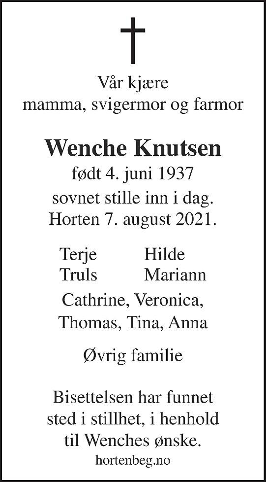 Wenche Knutsen Dødsannonse