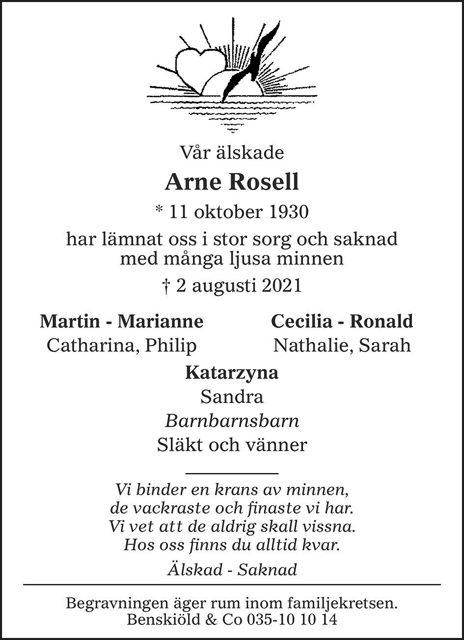 Arne Rosell Death notice