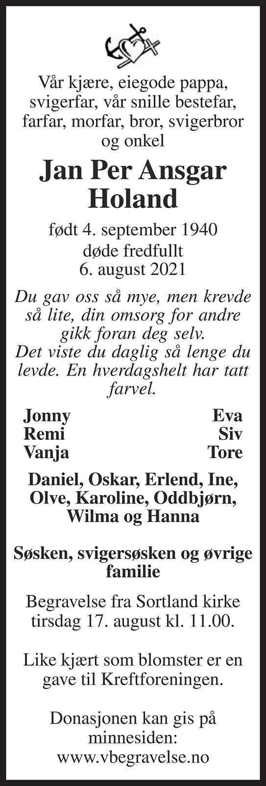 Jan Per Ansgar Holand Dødsannonse