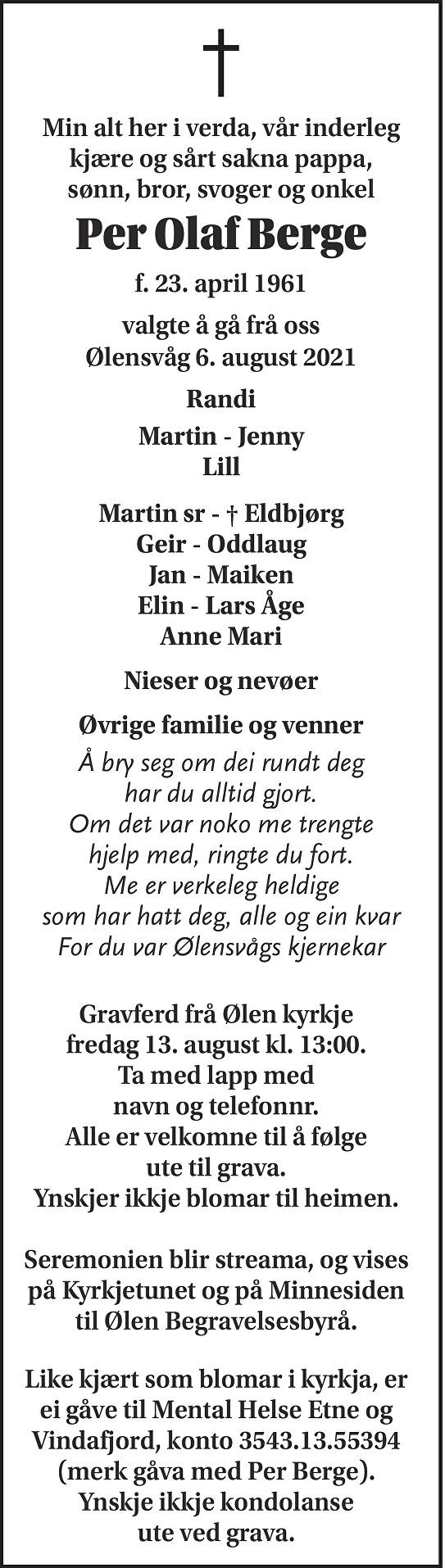 Per Olaf Berge Dødsannonse
