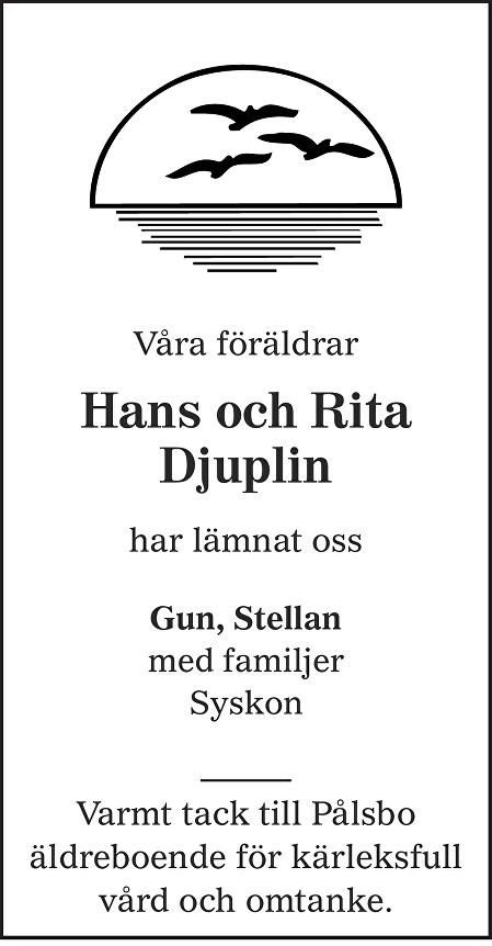 Rita Djuplin Death notice