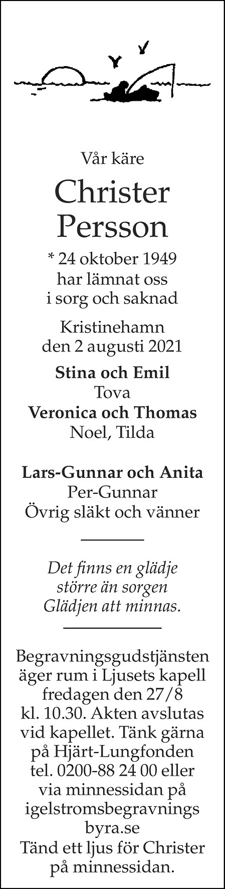 Christer Persson Death notice