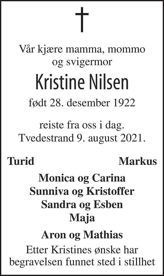 Kristine Nilsen Dødsannonse