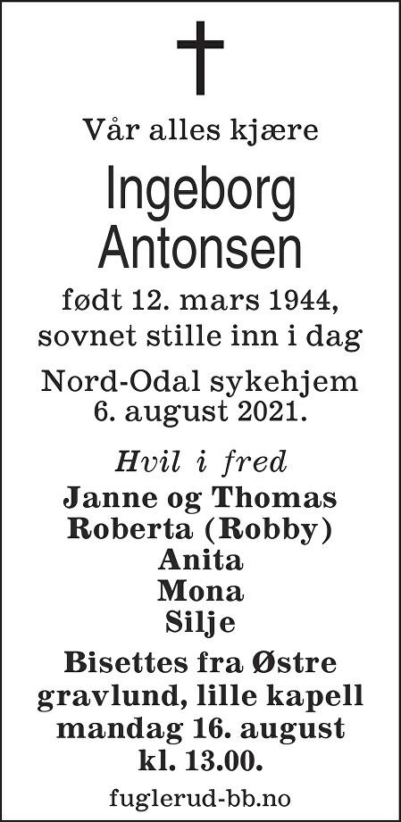 Ingeborg Antonsen Dødsannonse