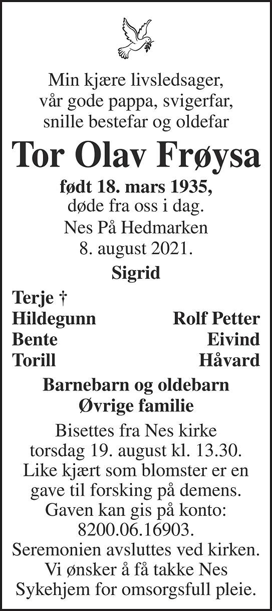 Tor Olav Frøysa Dødsannonse