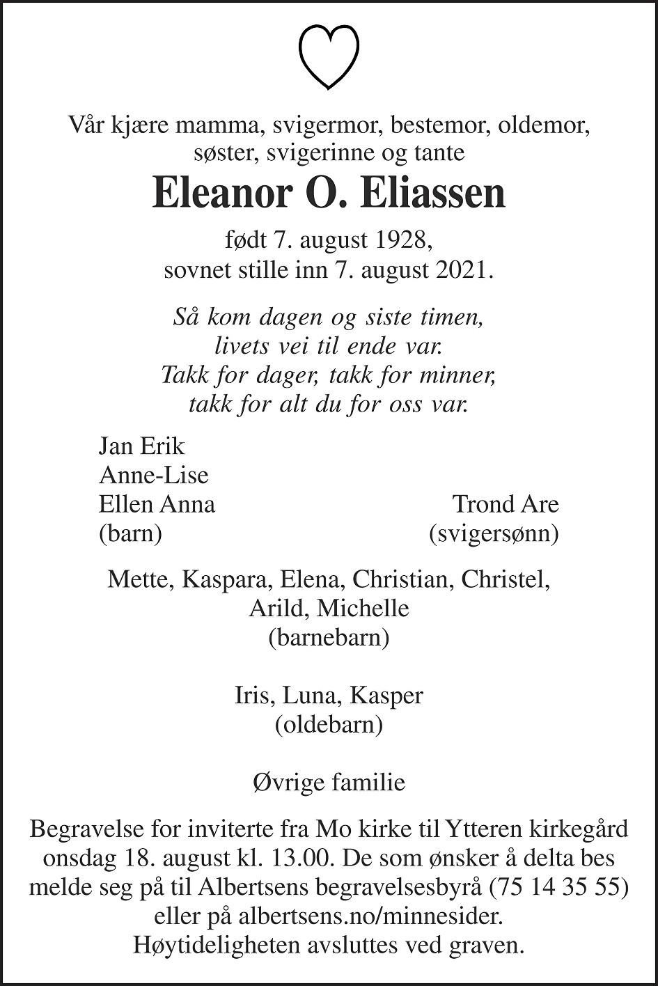 Eleanor Odlaug Eliassen Dødsannonse