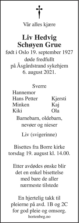 Liv Hedvig Schøyen Grue Dødsannonse