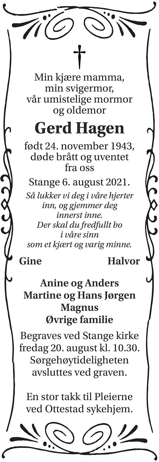 Gerd Hagen Dødsannonse