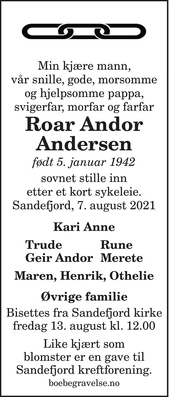 Roar Andor Andersen Dødsannonse