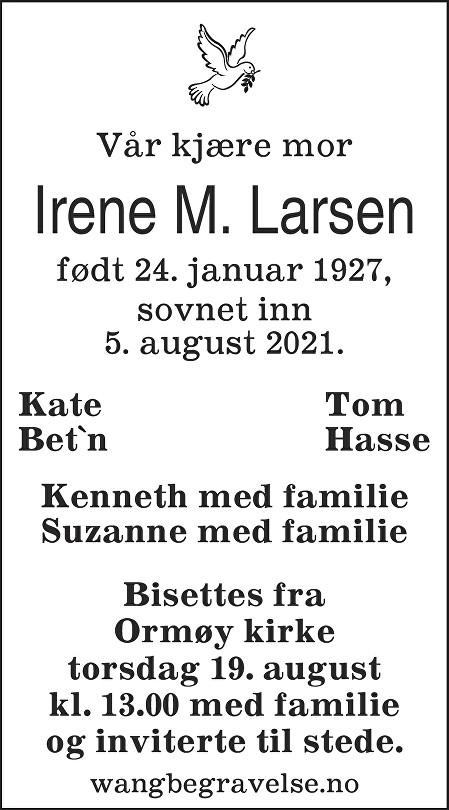 Irene Margaret Larsen Dødsannonse