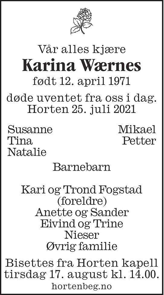 Karina Wærnes Dødsannonse