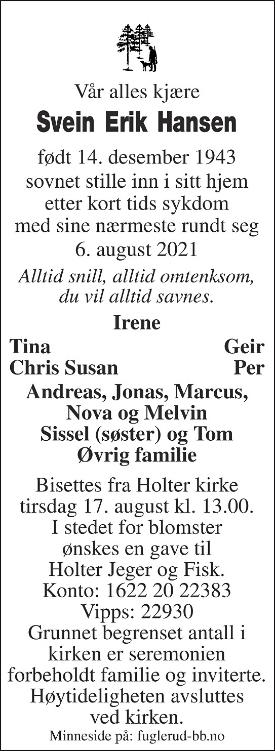 Svein Erik Hansen Dødsannonse