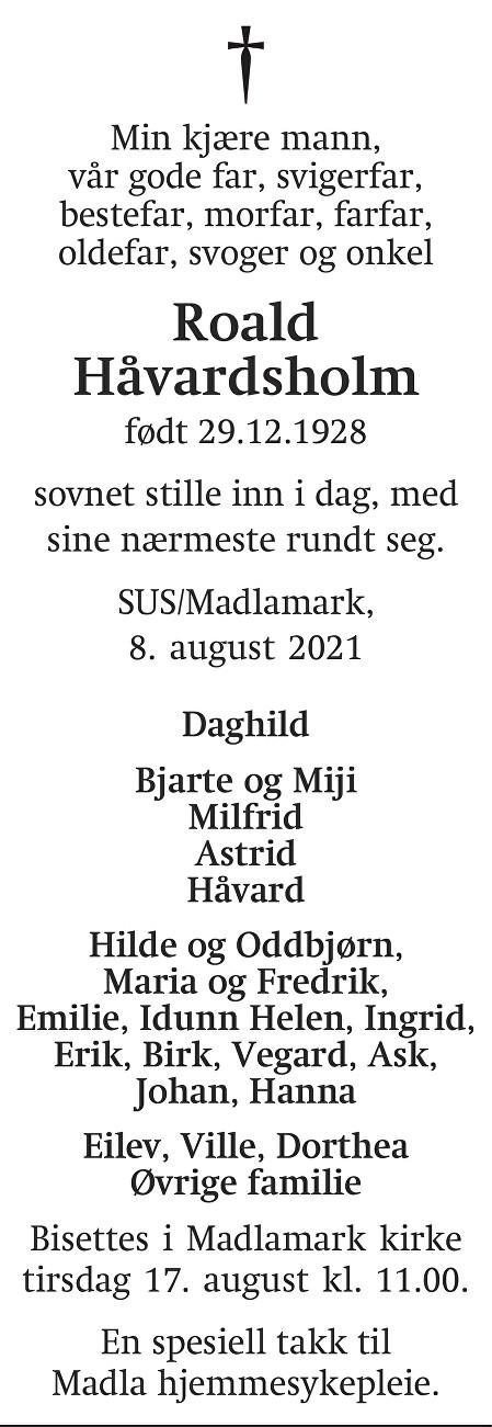 Roald  Håvardsholm Dødsannonse