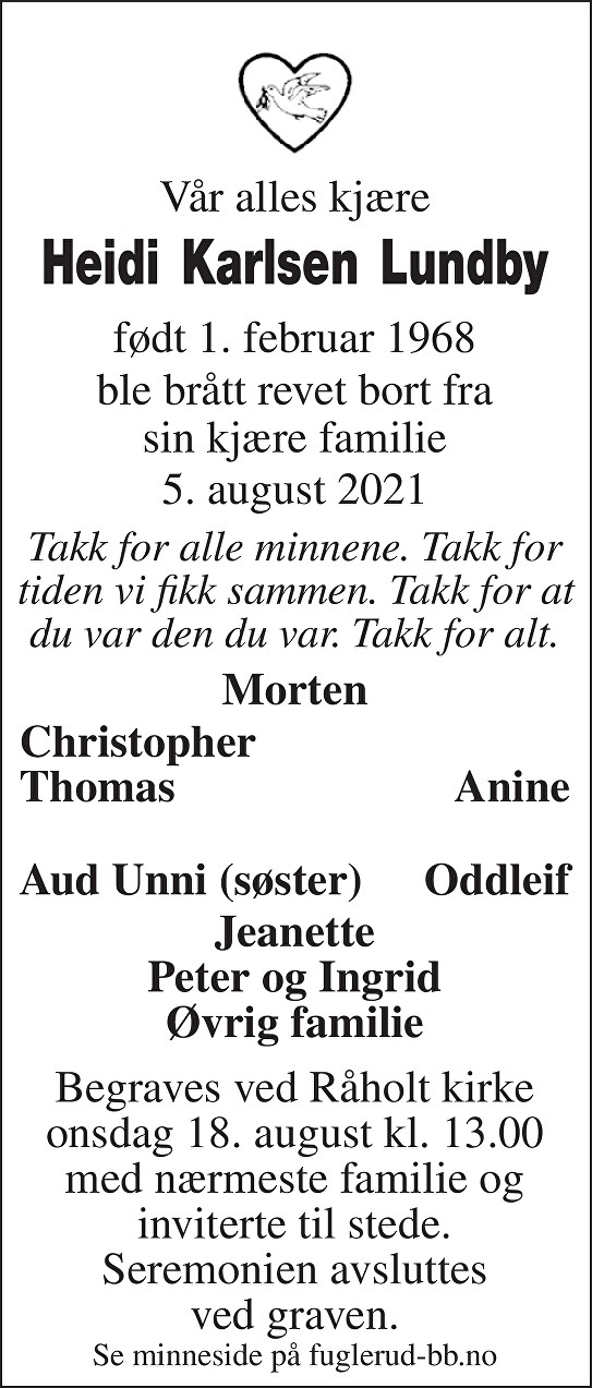 Heidi Karlsen Lundby Dødsannonse